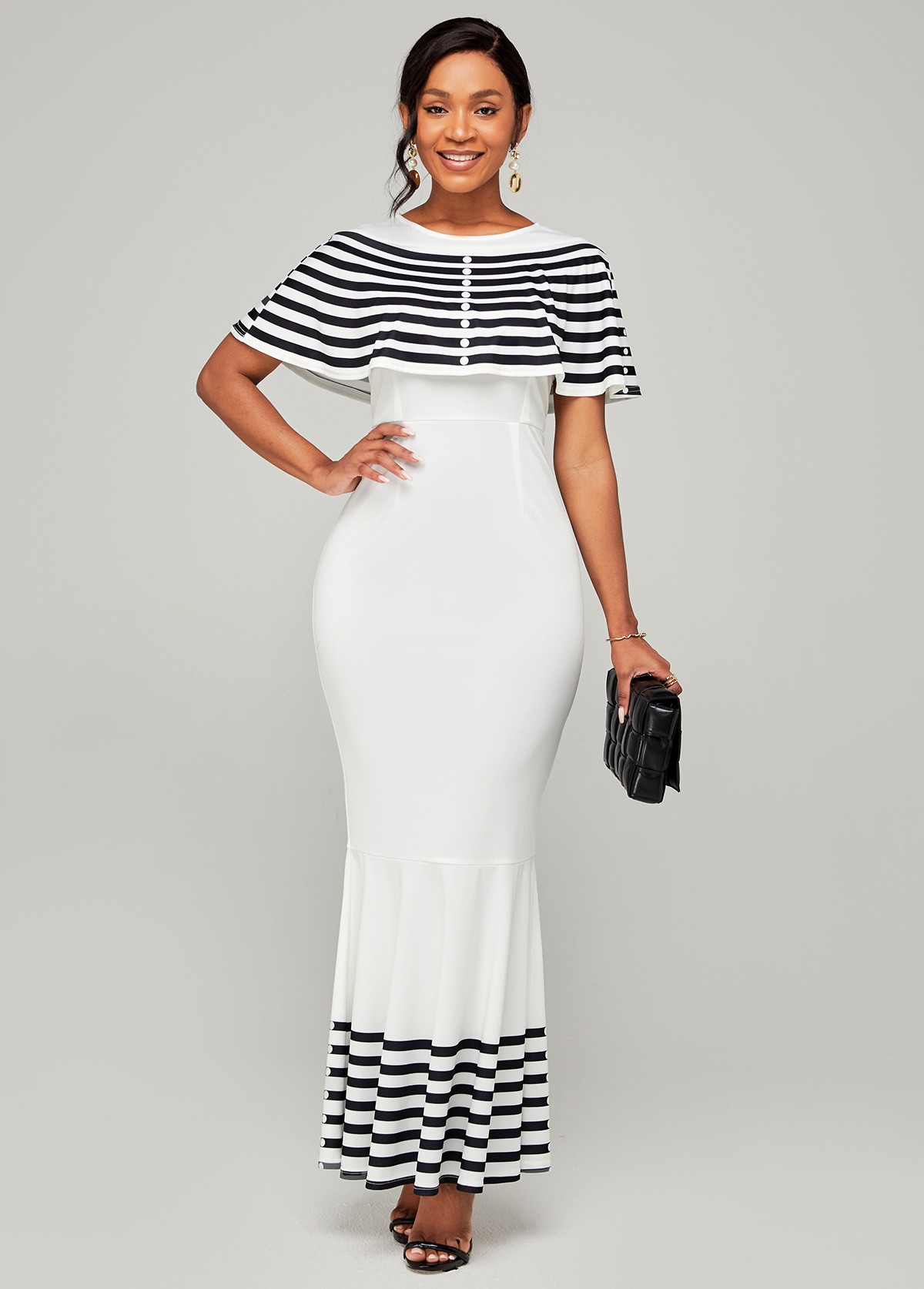 Cape Sleeve Striped Round Neck Mermaid Dress