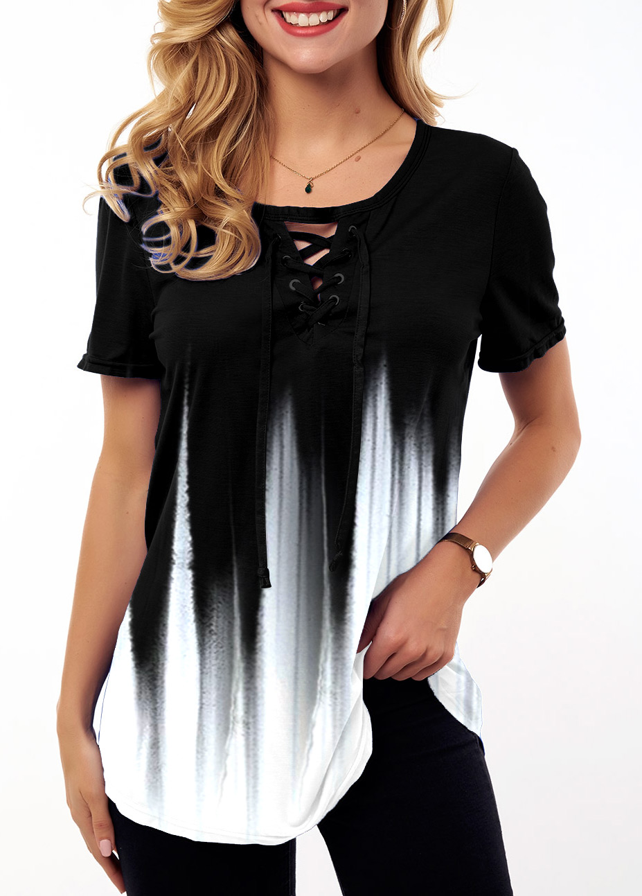 Ombre Lace Up Short Sleeve T Shirt