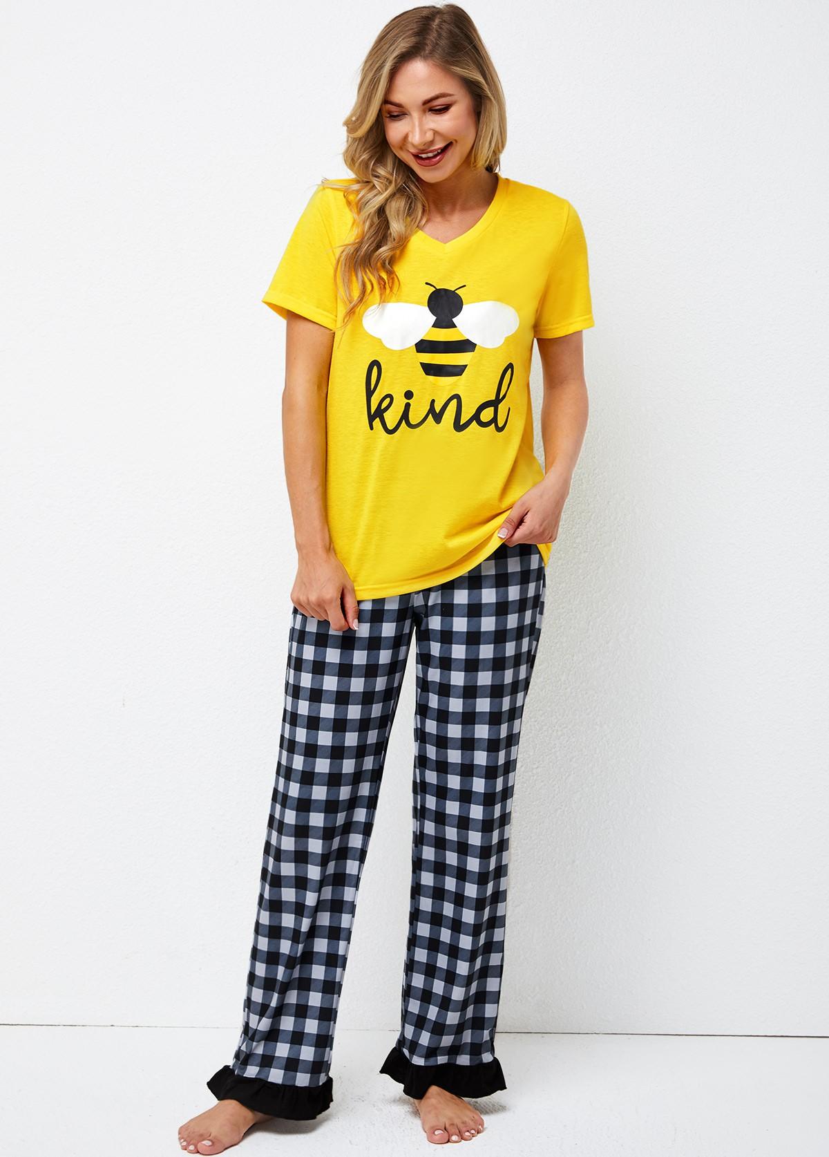 Plaid Letter Print Short Sleeve Loungewear Set