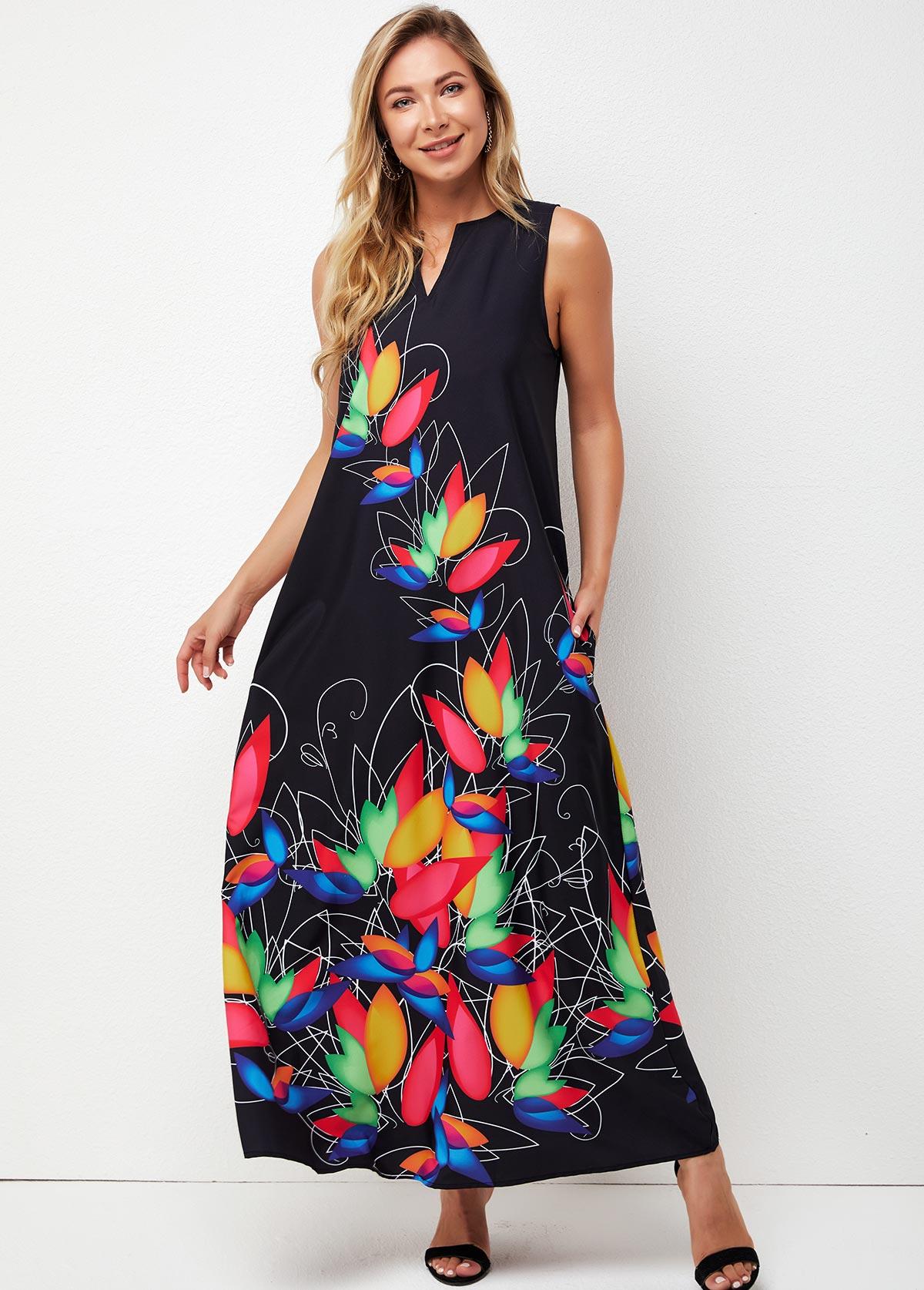 V Neck Sleeveless Printed Maxi Dress