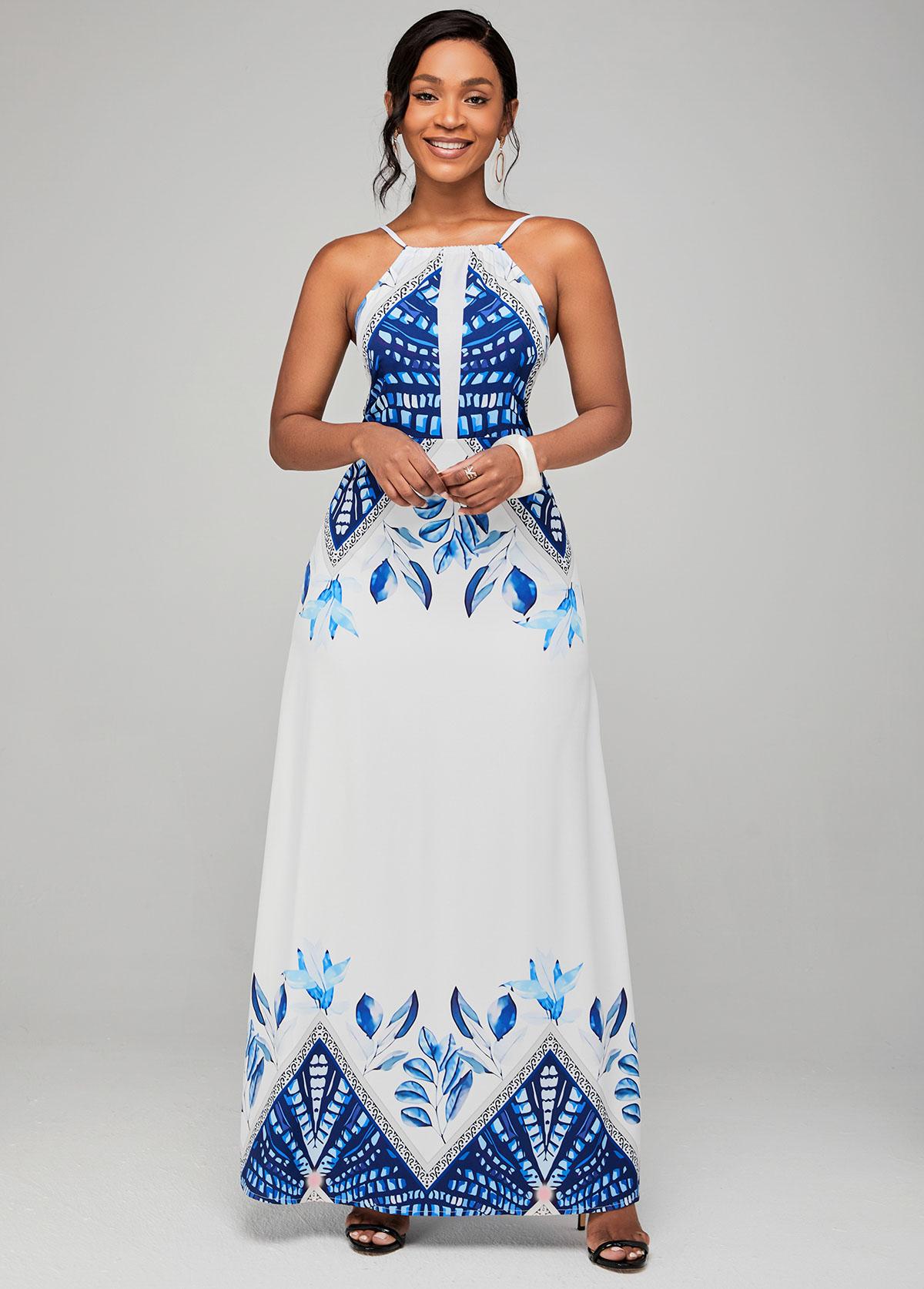 Tribal Print Spaghetti Strap High Waist Dress