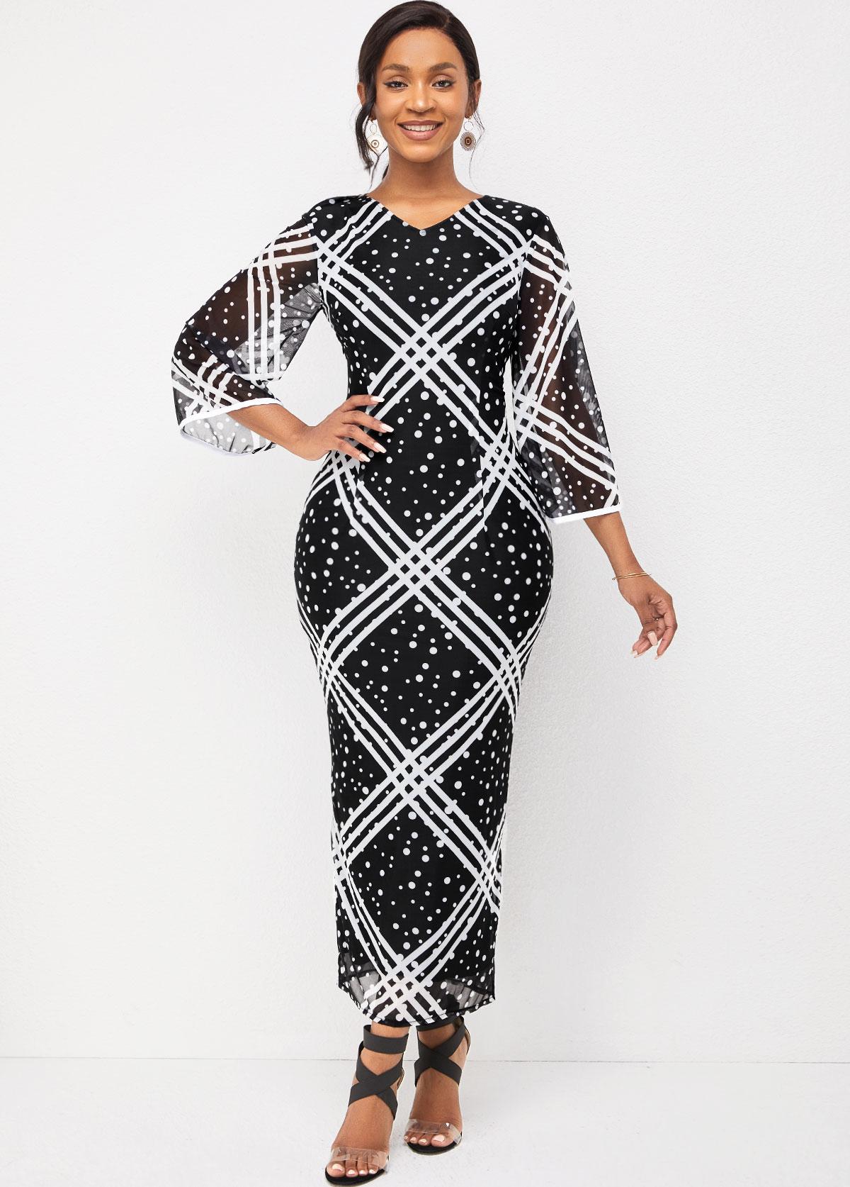 V Neck Striped and Polka Dot Flare Sleeve Dress