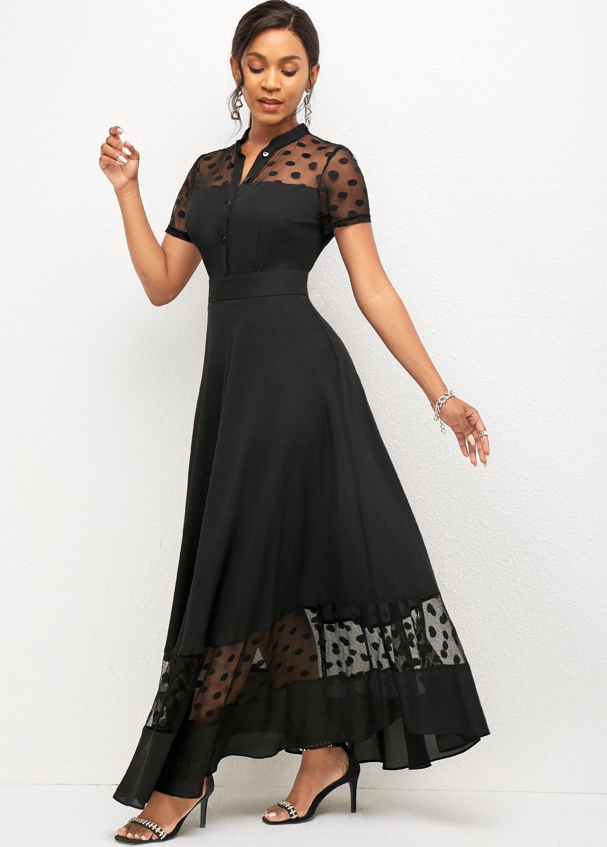 Polka Dot Mesh Stitching Short Sleeve Dress