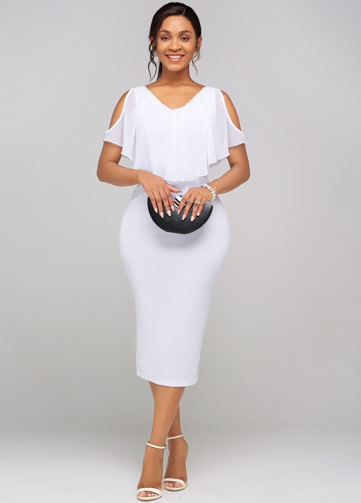 Chiffon Cape Sleeve Cold Shoulder Dress