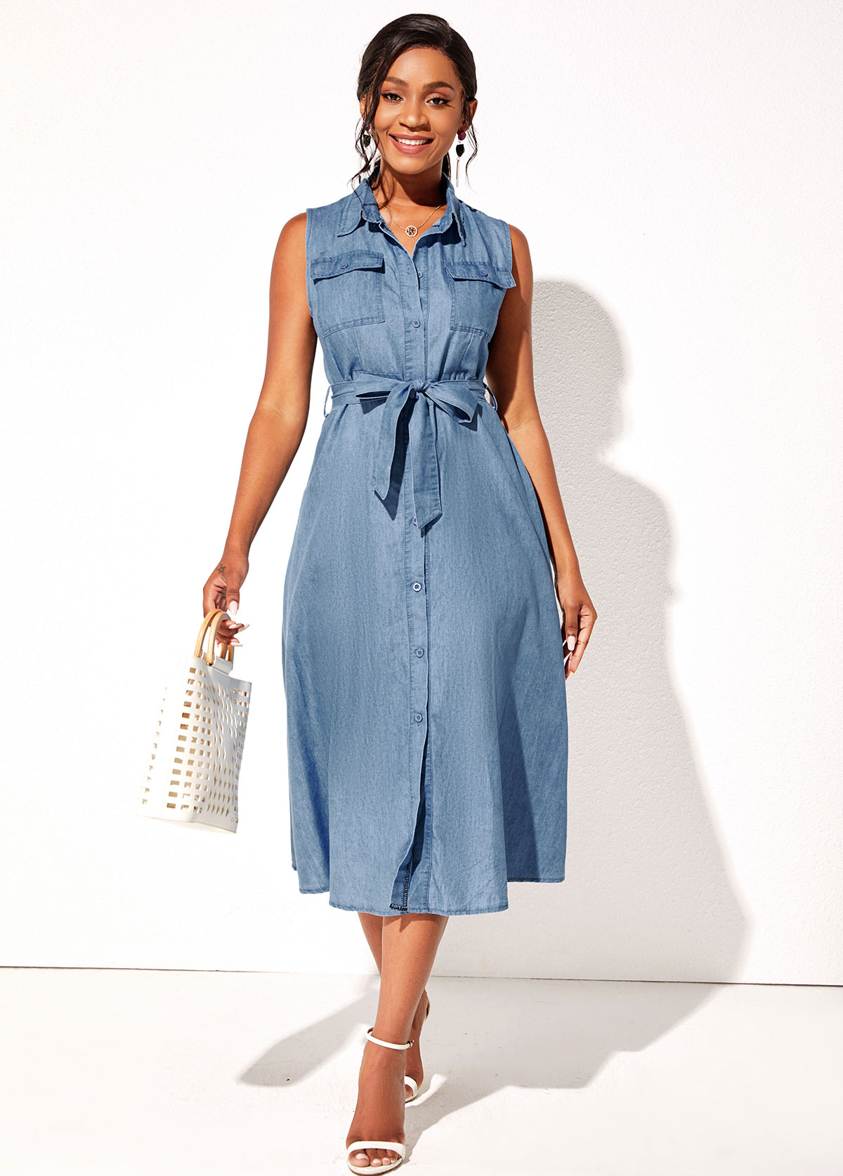 Demin Sleeveless Turndown Collar Button Up Dress