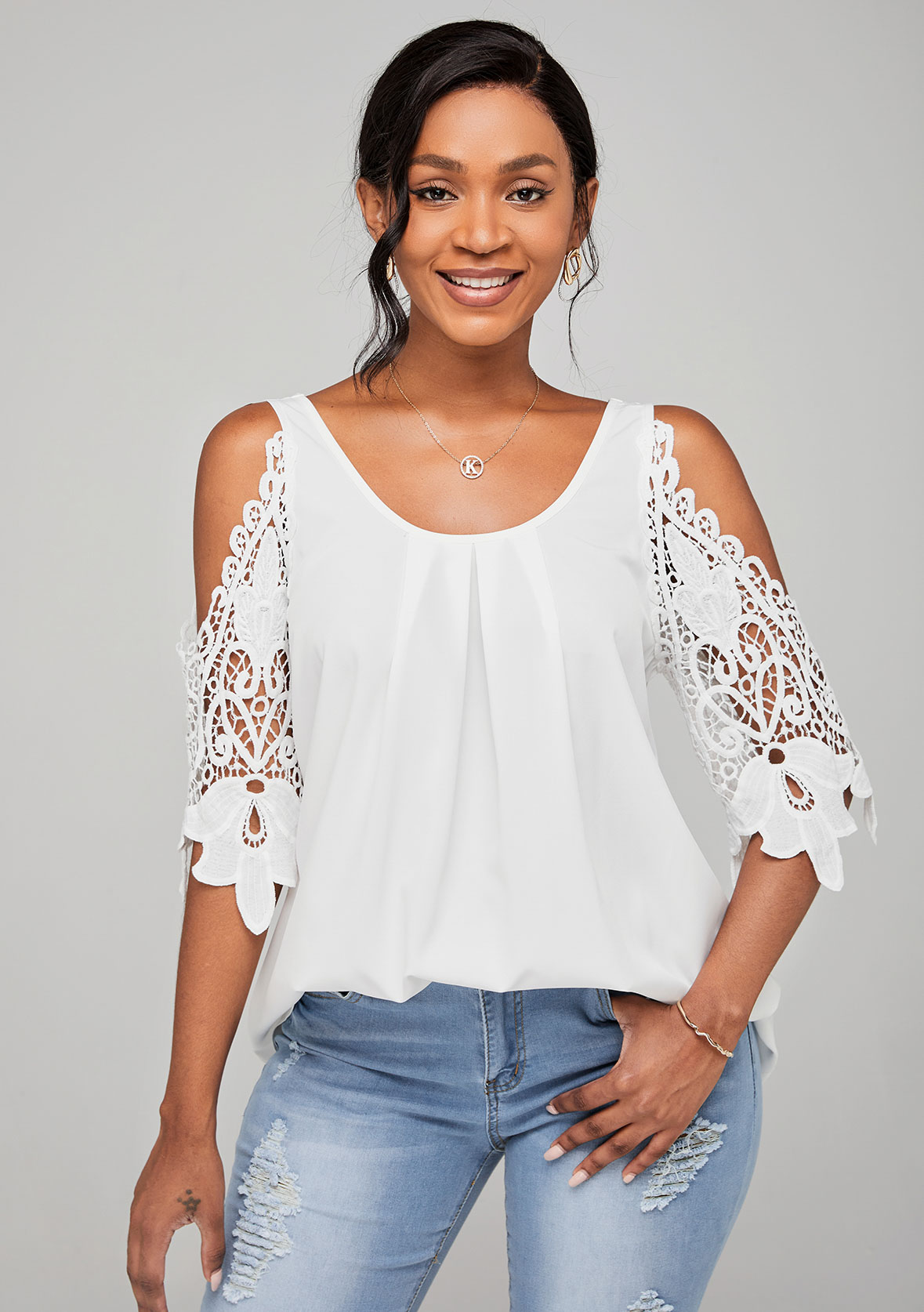 Lace Stitching Cold Shoulder Round Neck Blouse