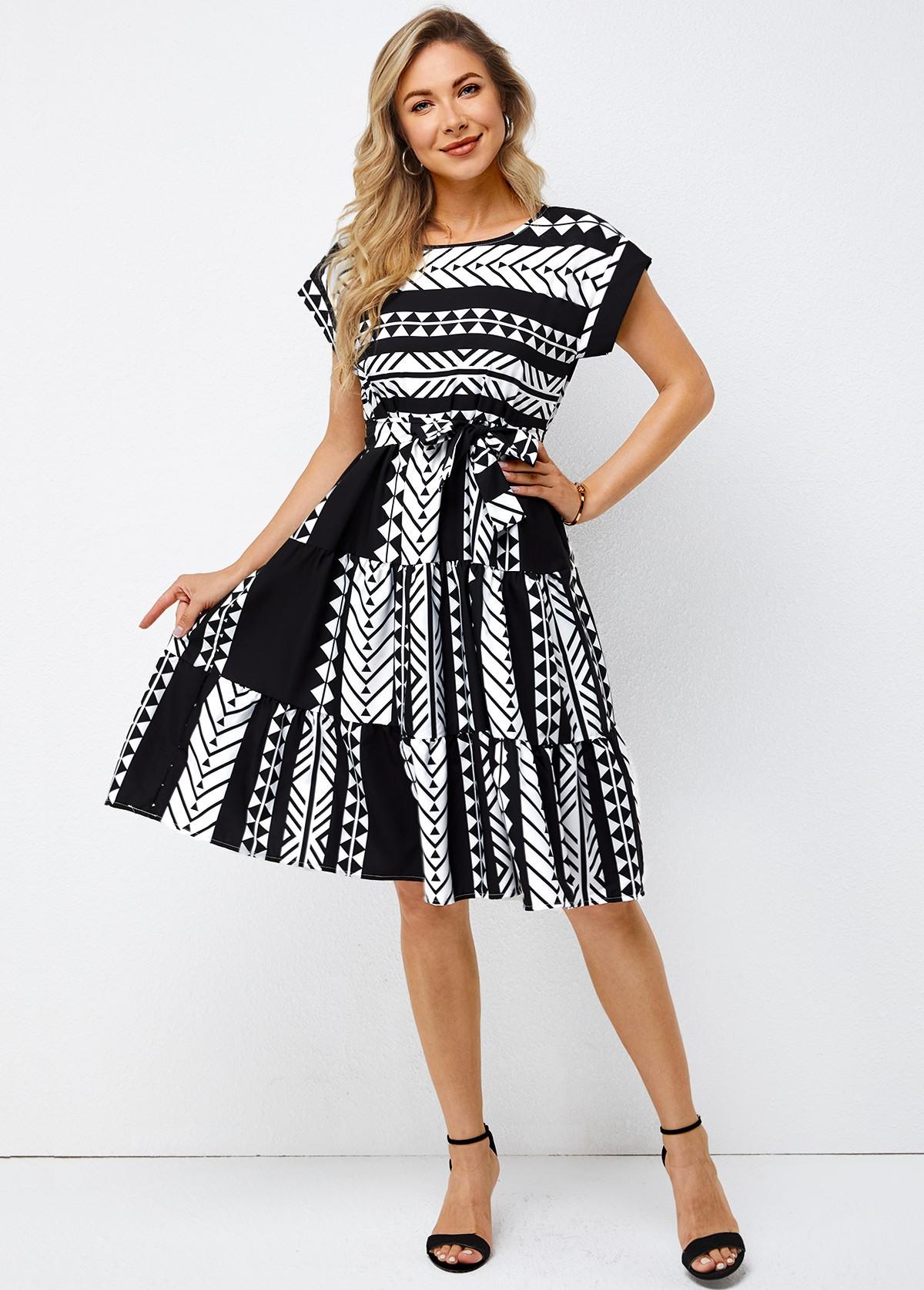 Belted Geometric Print Short Sleeve Round Neck Dress