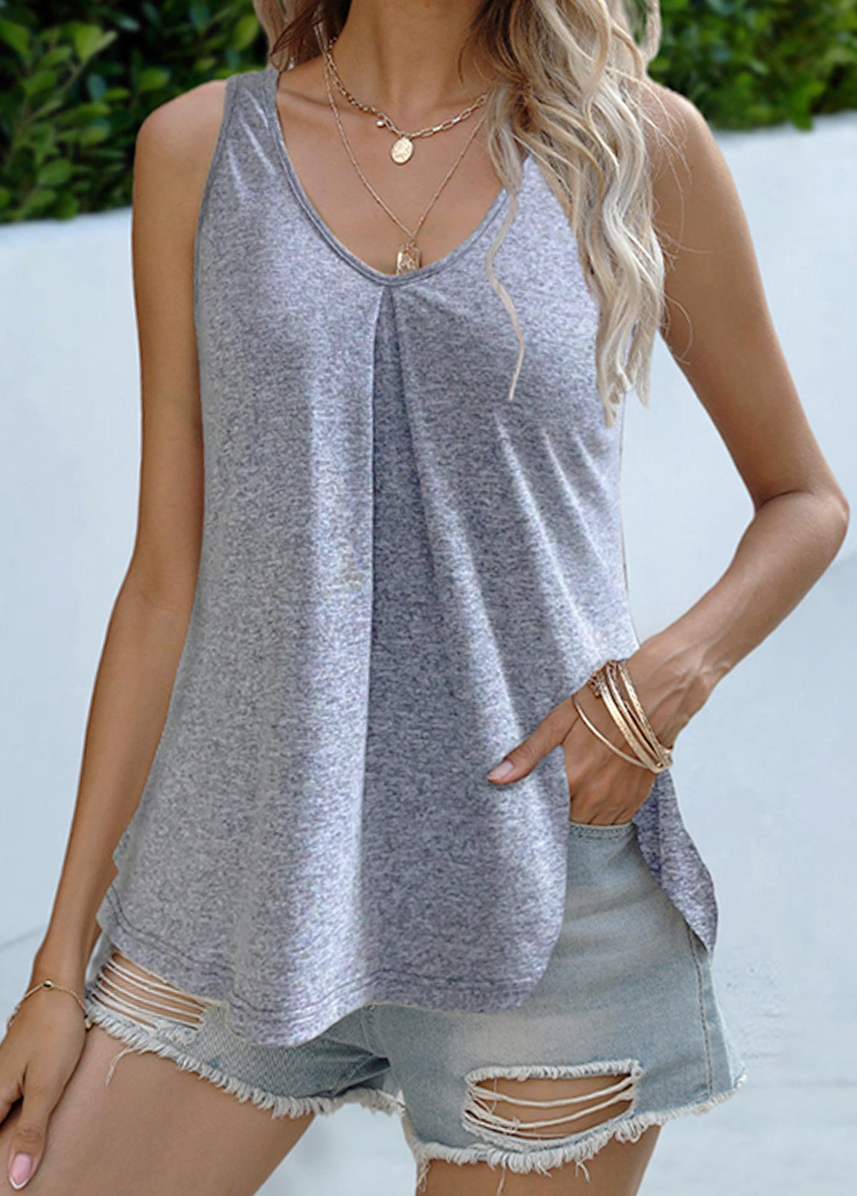 Round Neck Loose Solid Tank Top