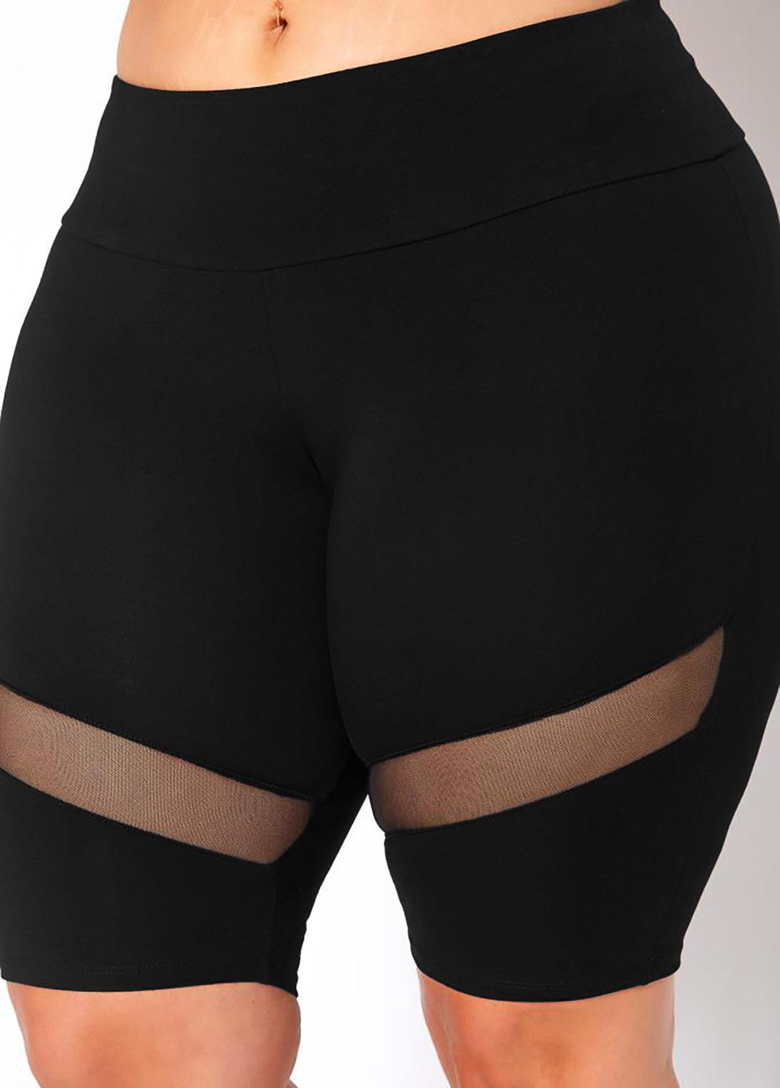 Plus Size Mesh Stitching Mid Waist Swim Shorts