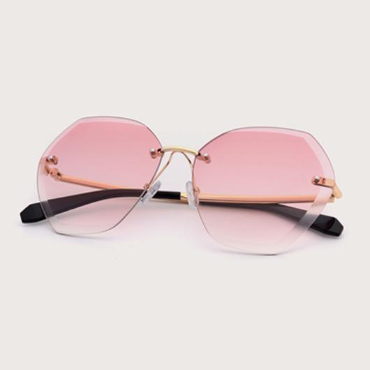 1 Pair Metal Detail Rimless Pink Sunglasses