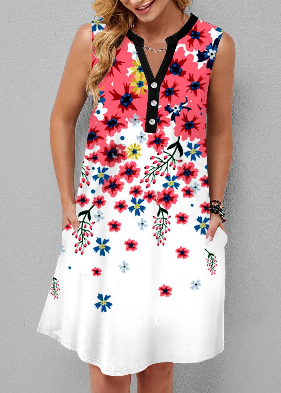 Floral Print Pocket Split Neck Dress
