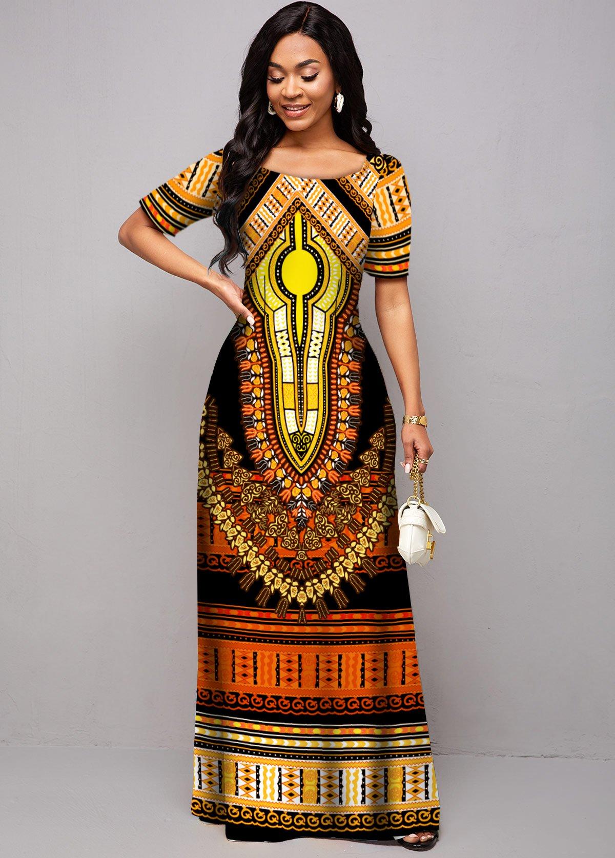 Tribal Print Round Neck Short Sleeve Dress