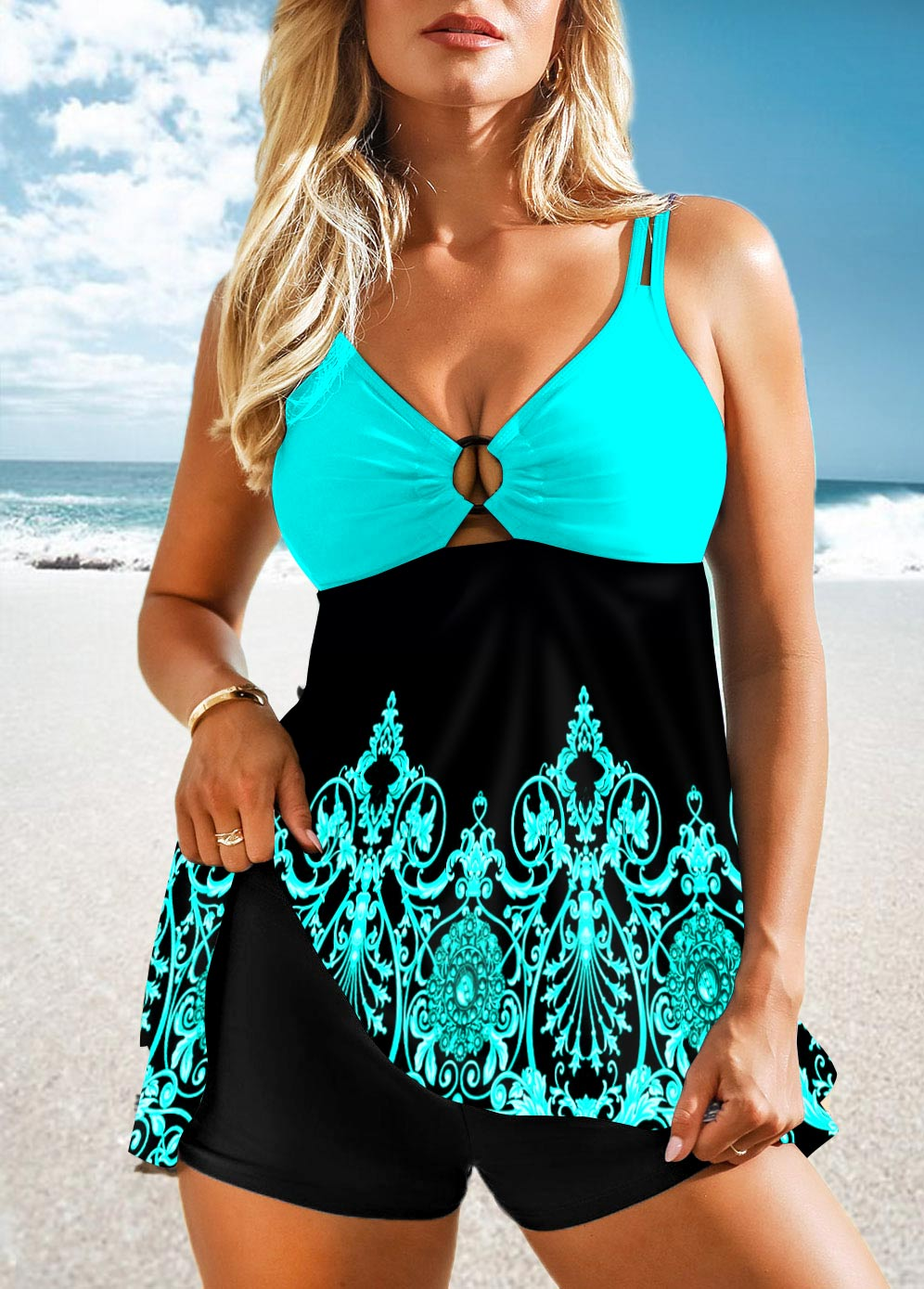 Tribal Print Double Straps Swimdress and Shorts