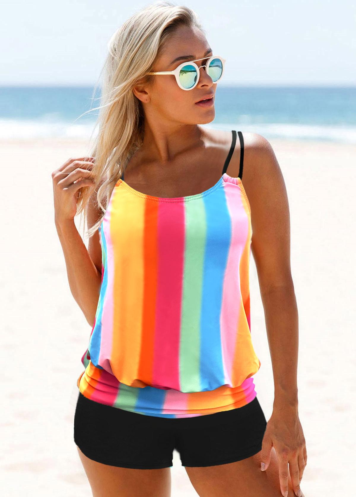Rainbow Stripe Double Straps Tankini Set
