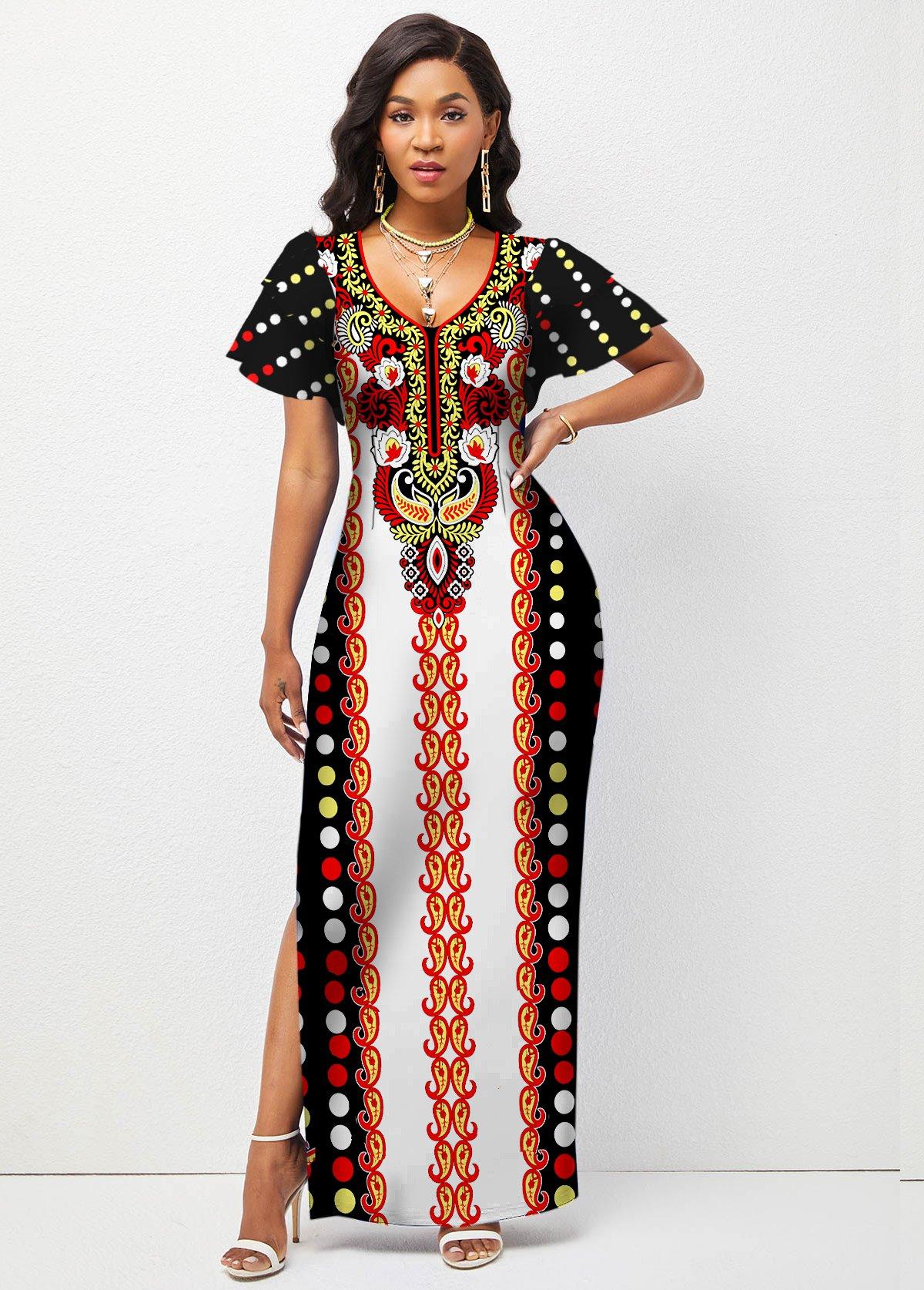 Ruffle Sleeve Tribal Print Side Slit Dress