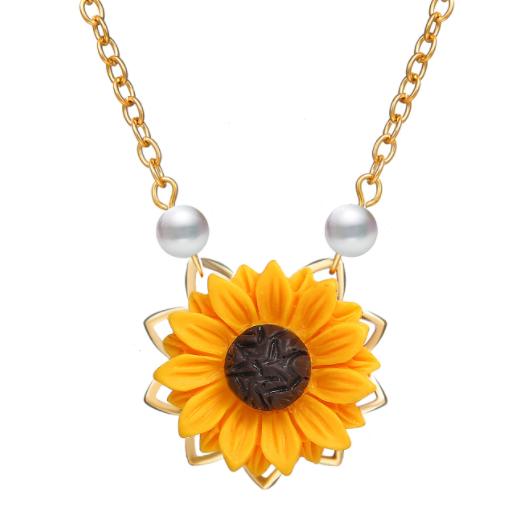 Sunflower Design Pearl Detail Metal Necklace
