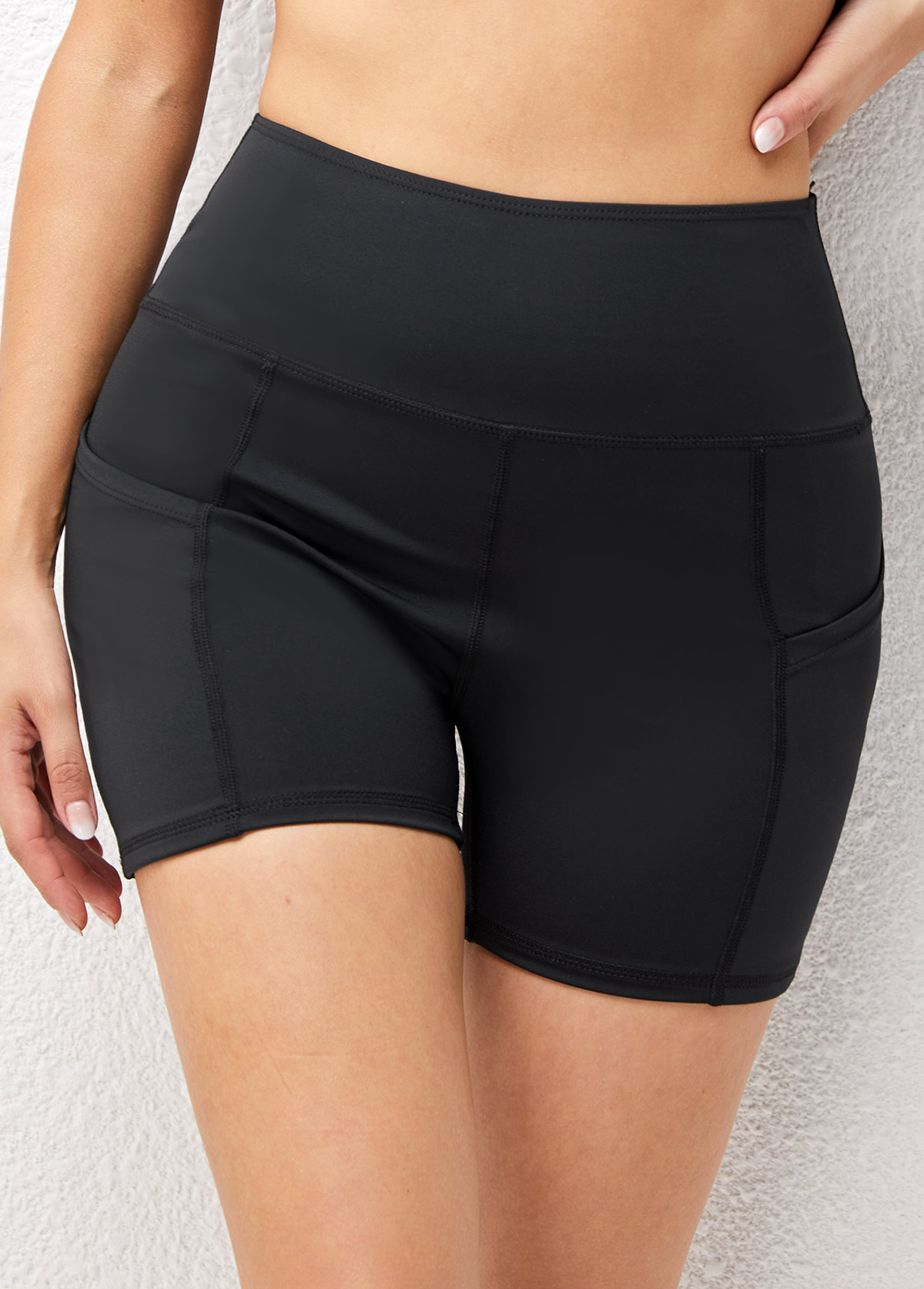 Solid High Waisted Pocket Skinny Sports Bottom