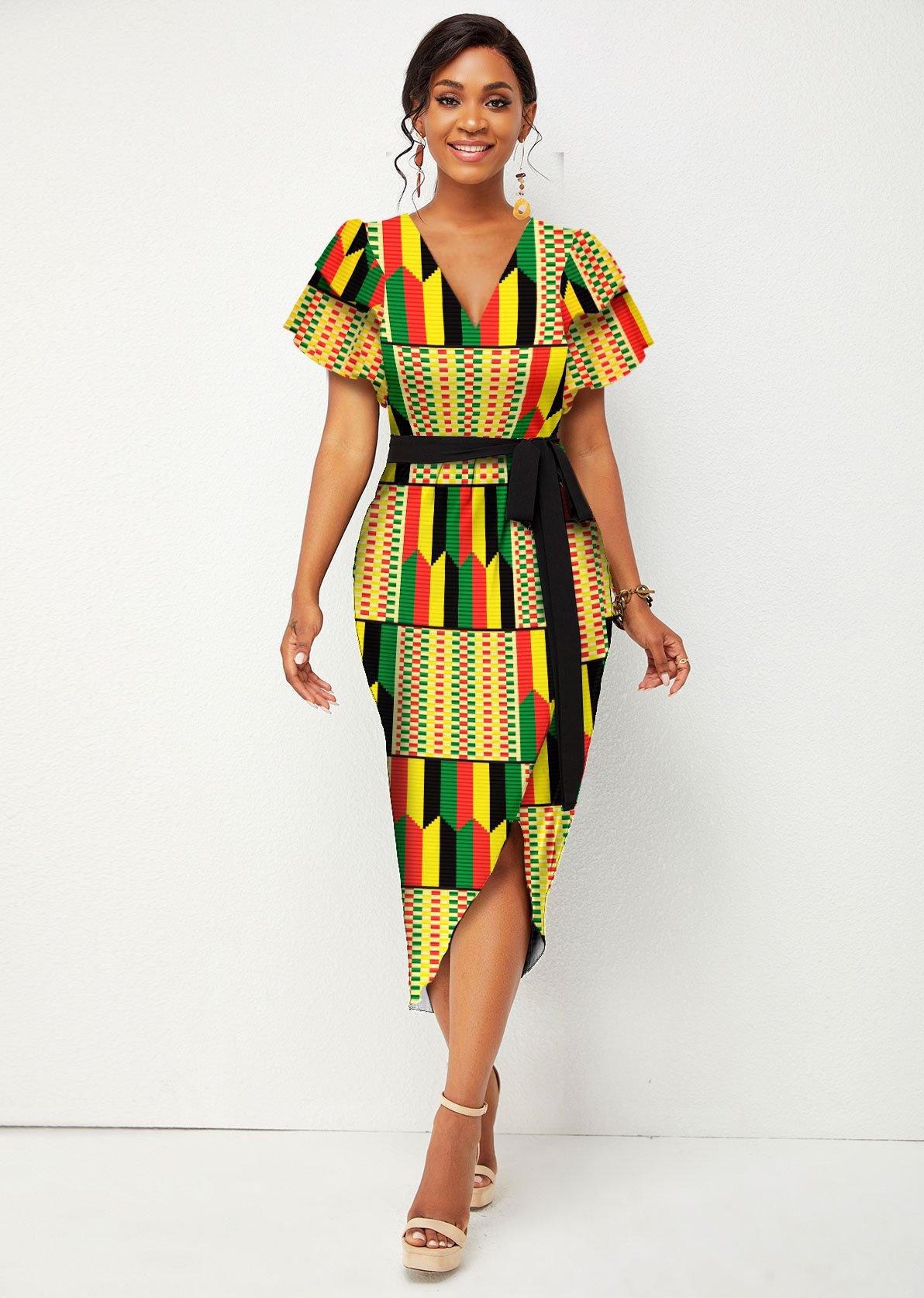 Belted Short Sleeve V Neck Tribal Print Dress