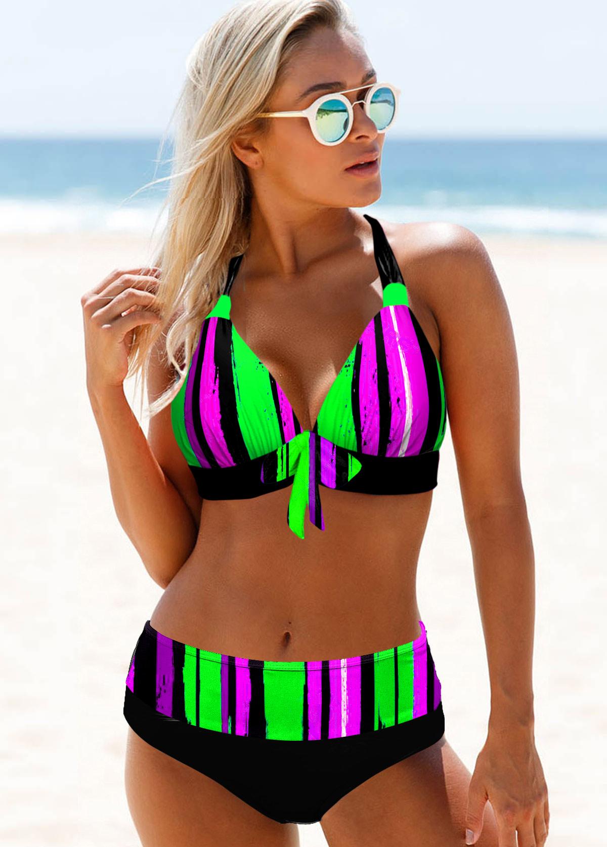 Mid Waist Rainbow Stripe Halter Bikini Set