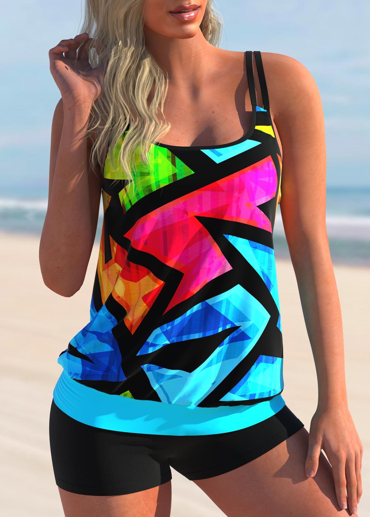 Colorful Geometric Print Double Straps Tankini Set