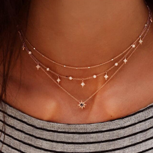Rhinestone Detail Hexagram Design Layered Necklace