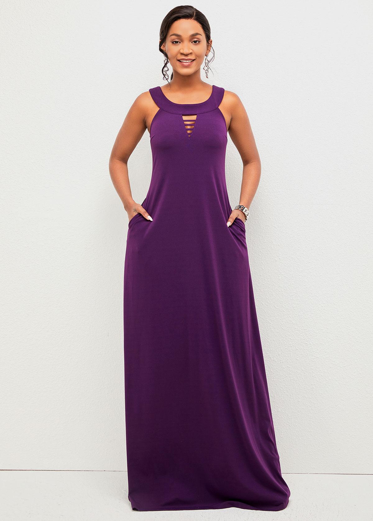 Ladder Cutout Wide Strap Pocket Detail Dress
