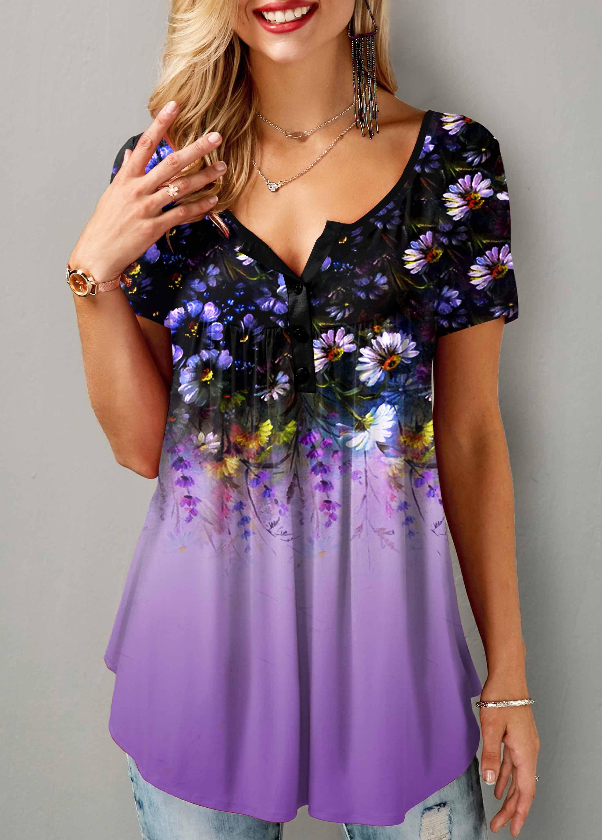 Short Sleeve Floral Print Button Detail T Shirt