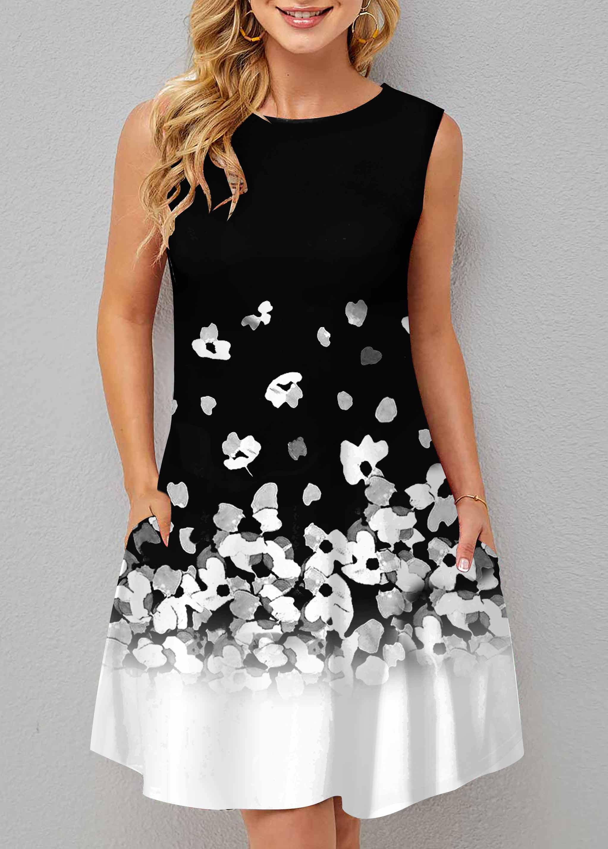 Double Pocket Floral Print Sleeveless Dress