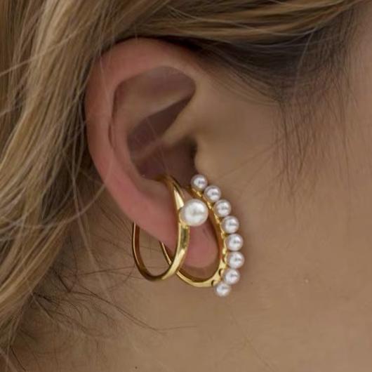 Pearl Destail Metal Ring Detail Earring Set