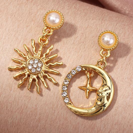 Sun and Moon Design Rhinestone Pearl Earring Set