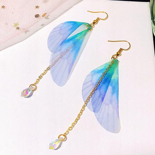 Butterfly Wings Design Crystal Metal Detail Earring Set
