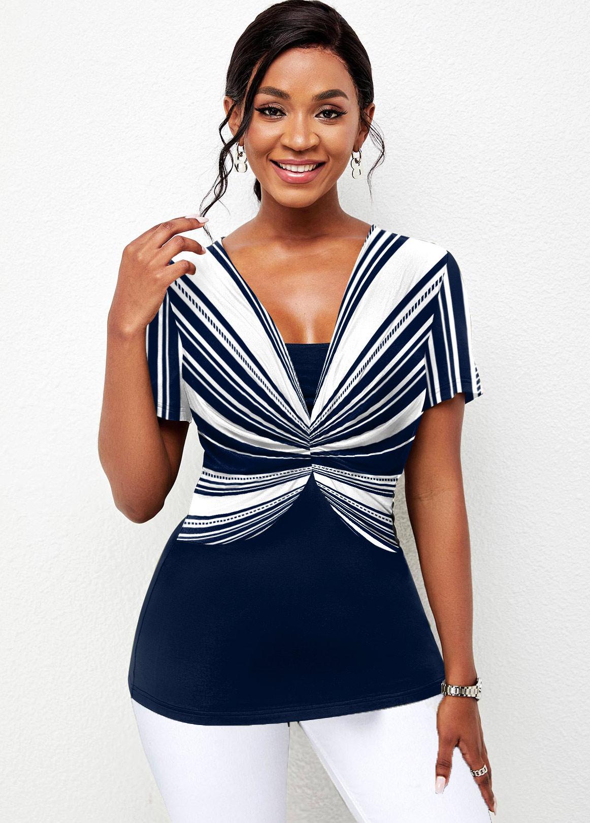 Striped Center Shirred Short Sleeve T Shirt