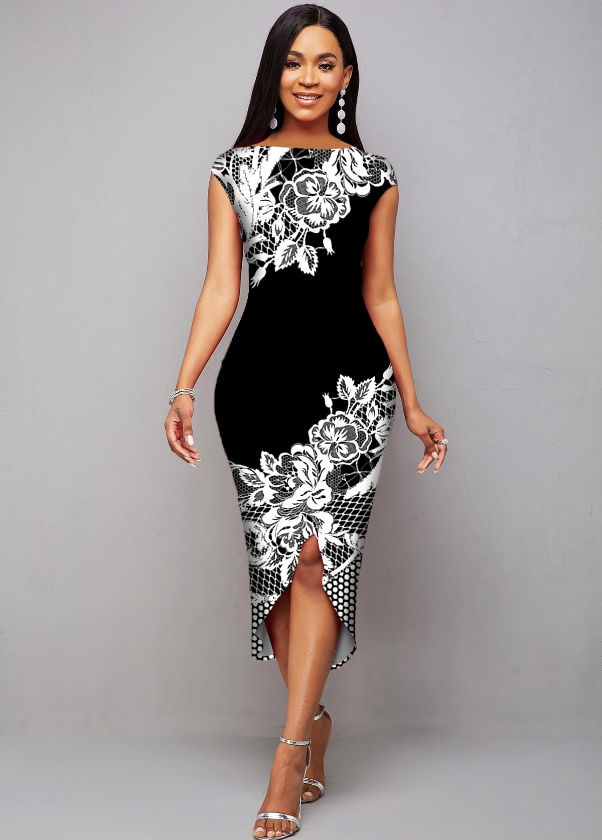 Floral Print Cap Sleeve Asymmetric Hem Dress