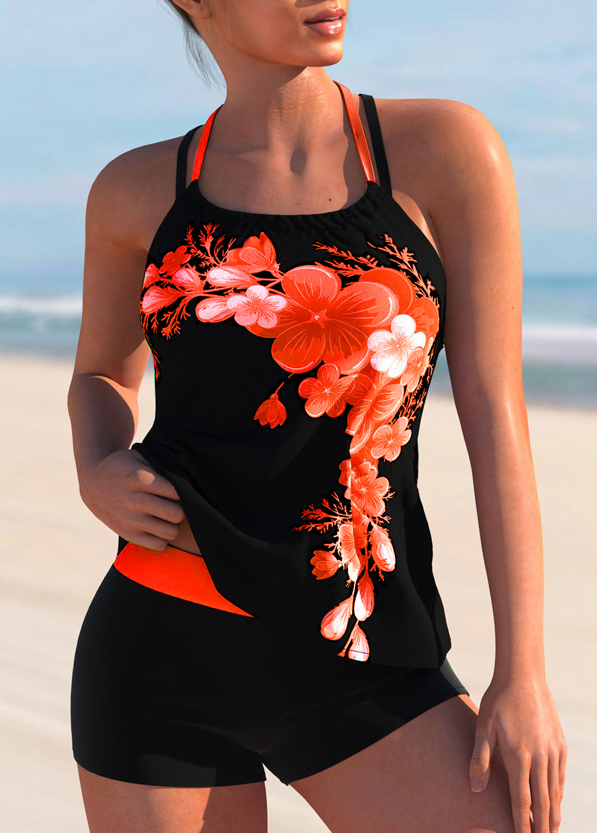 Floral Print Criss Cross Back Tie Back Tankini Set
