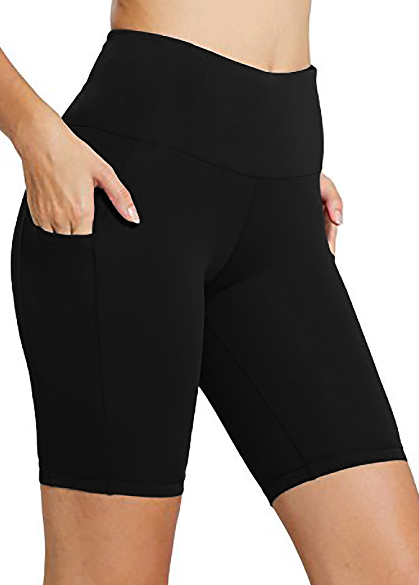 High Waisted Black Pocket Swim Shorts