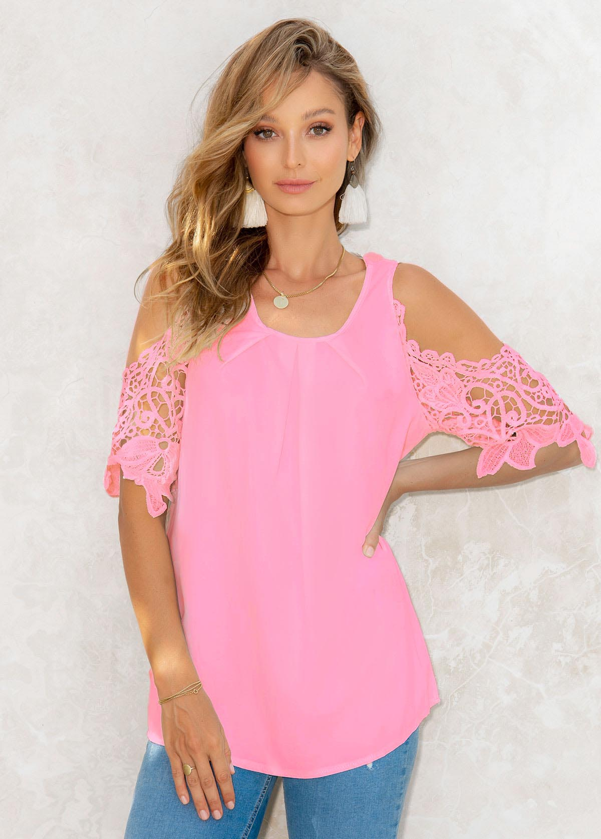 Lace Stitching Cold Shoulder 3/4 Sleeve Blouse
