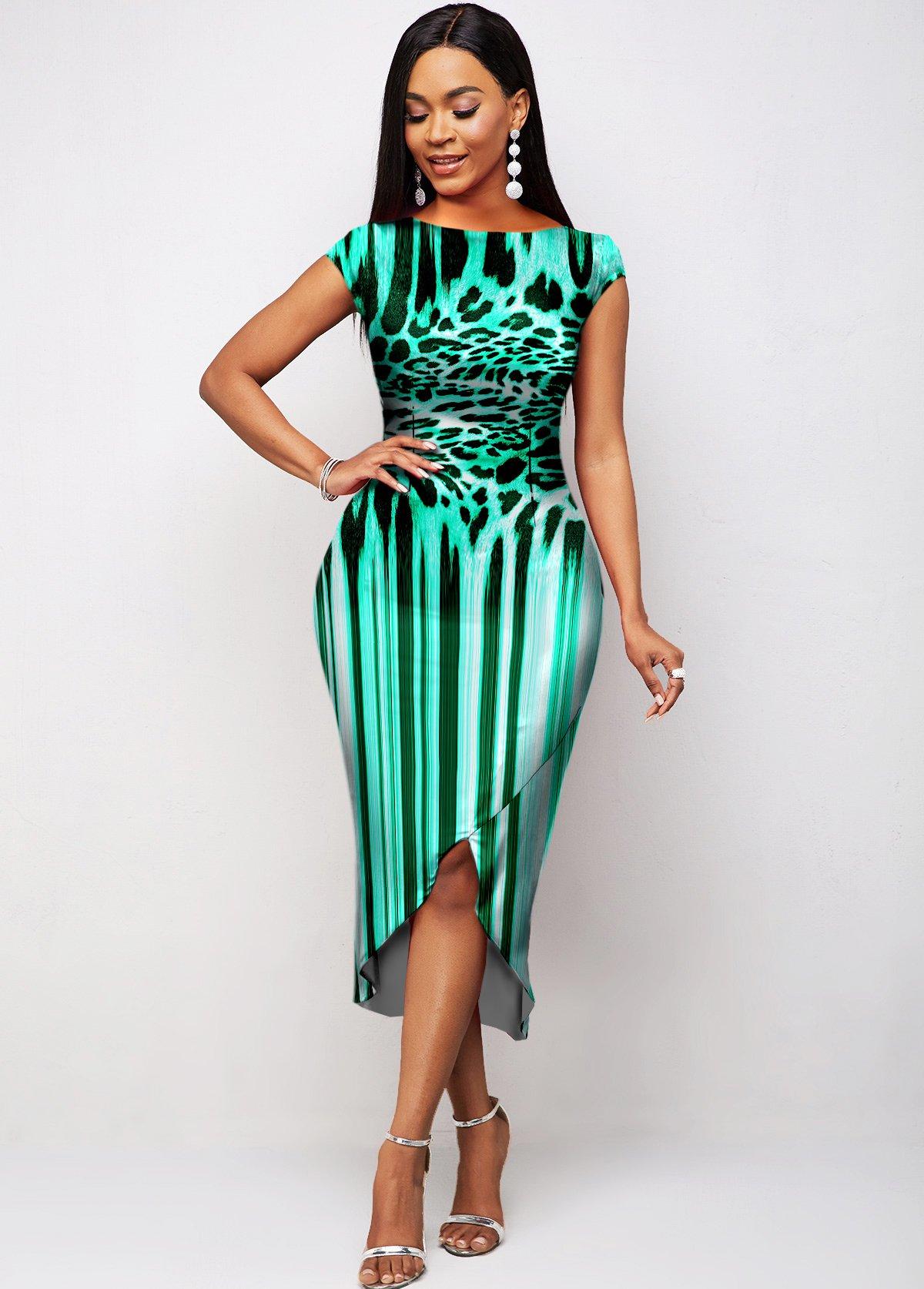 Short Sleeve Asymmetric Hem Leopard Dress