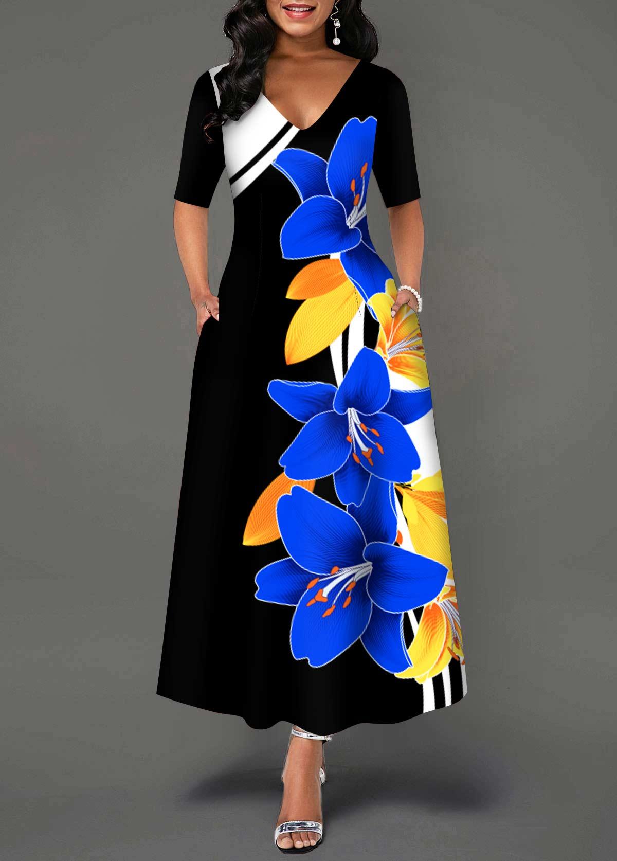 Floral Print V Neck Half Sleeve Dress
