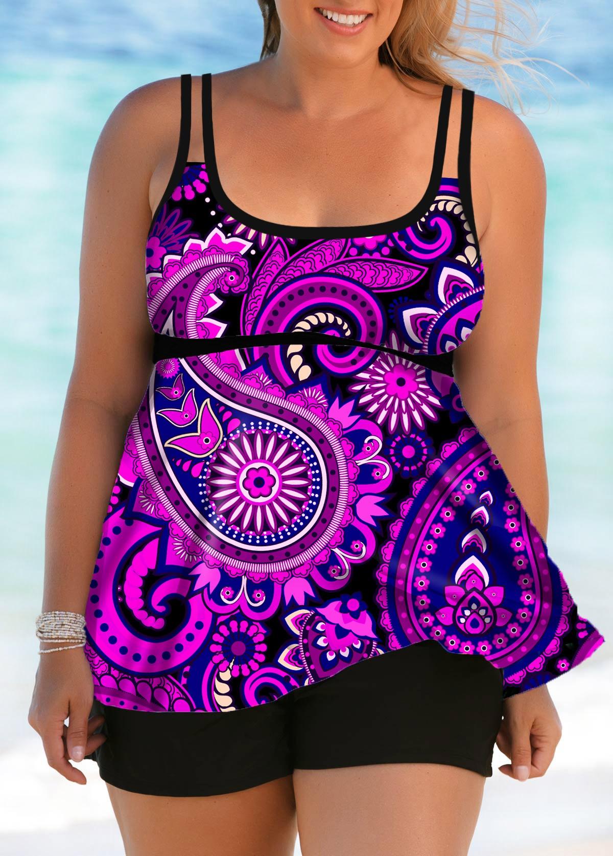 Plus Size Double Straps Paisley Print Swimdress and Shorts