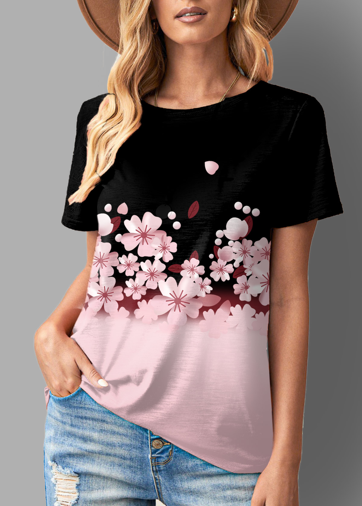 Floral Print Ombre Short Sleeve T Shirt