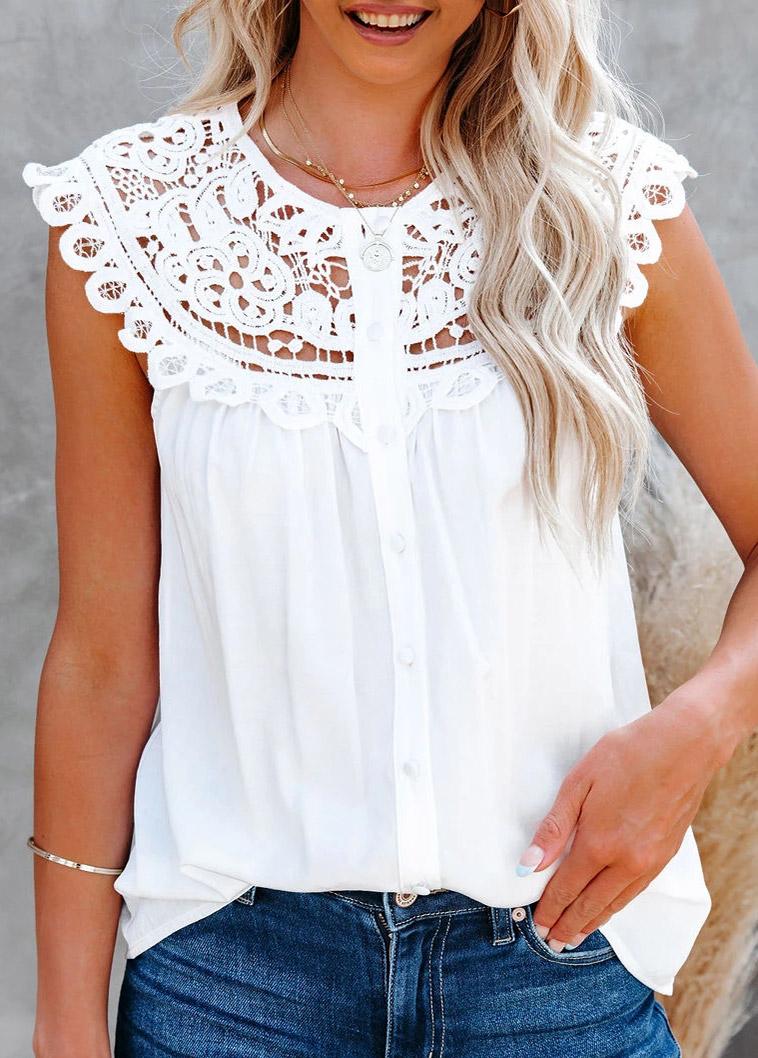 Lace Stitching Short Sleeve White Blouse