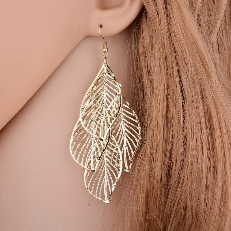 Leaf Design Gold Metal Detail Earring Set