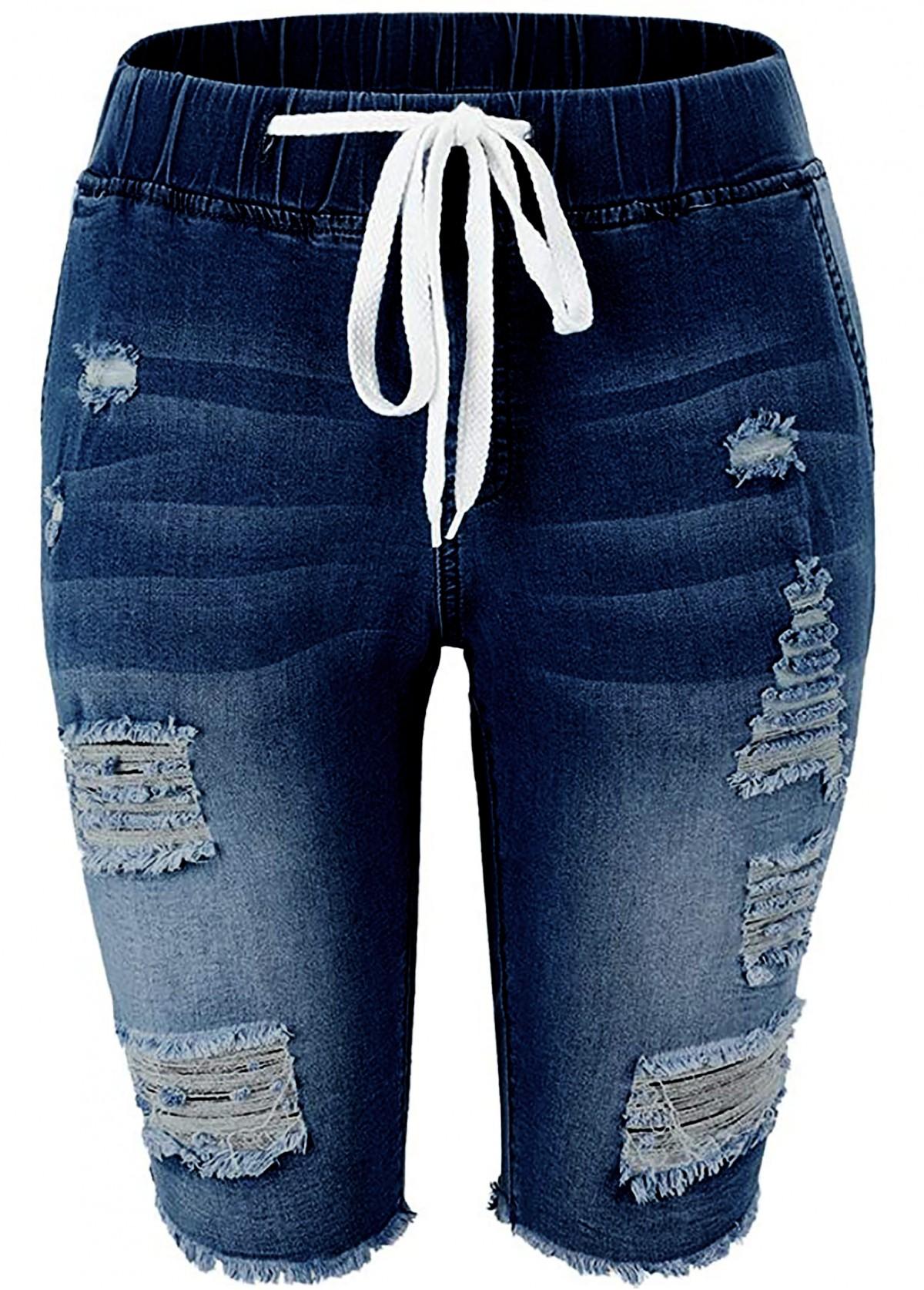 Shredded Drawstring Waist Denim Blue Shorts