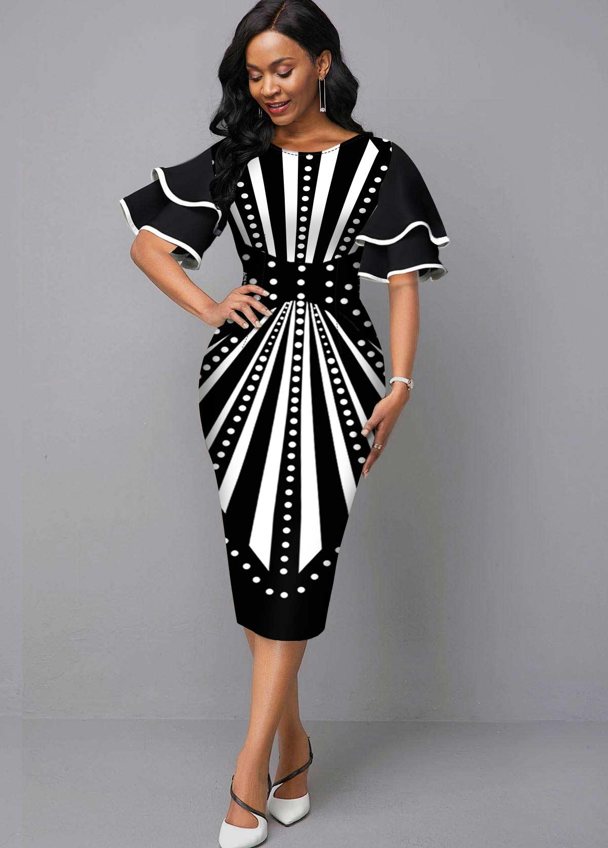 Round Neck Radial Print Bodycon Dress