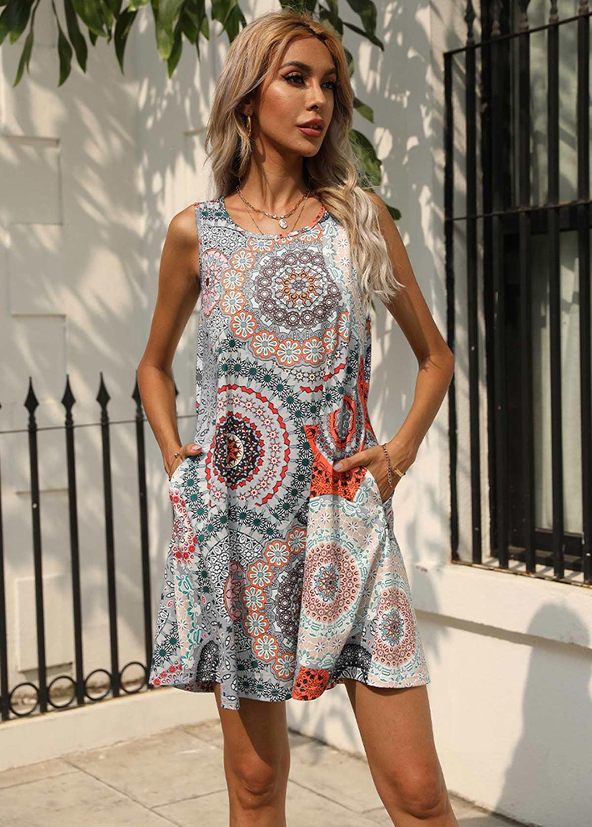 Round Neck Double Pocket Printed Dress