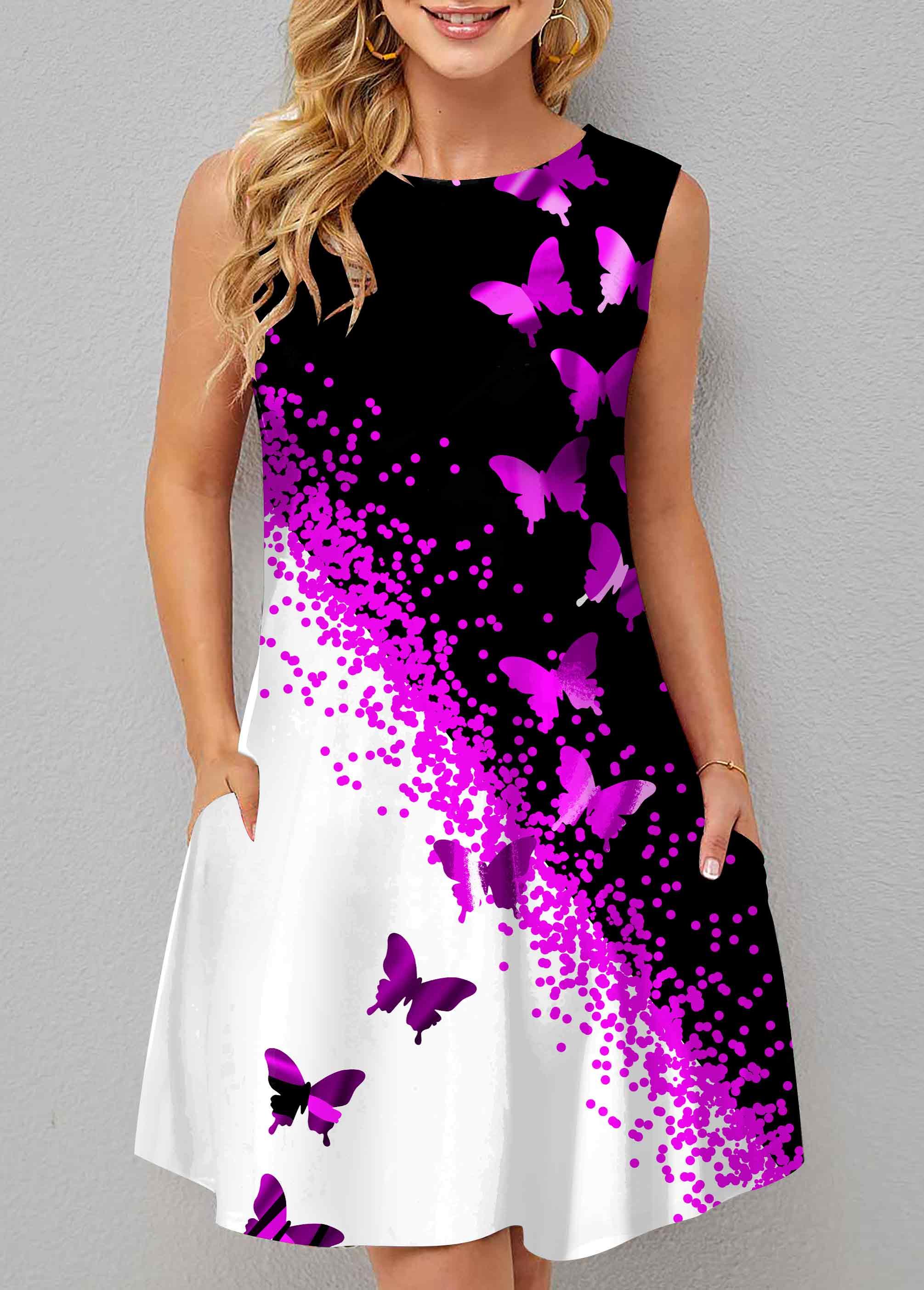 Butterfly Print Double Pocket Contrast Dress