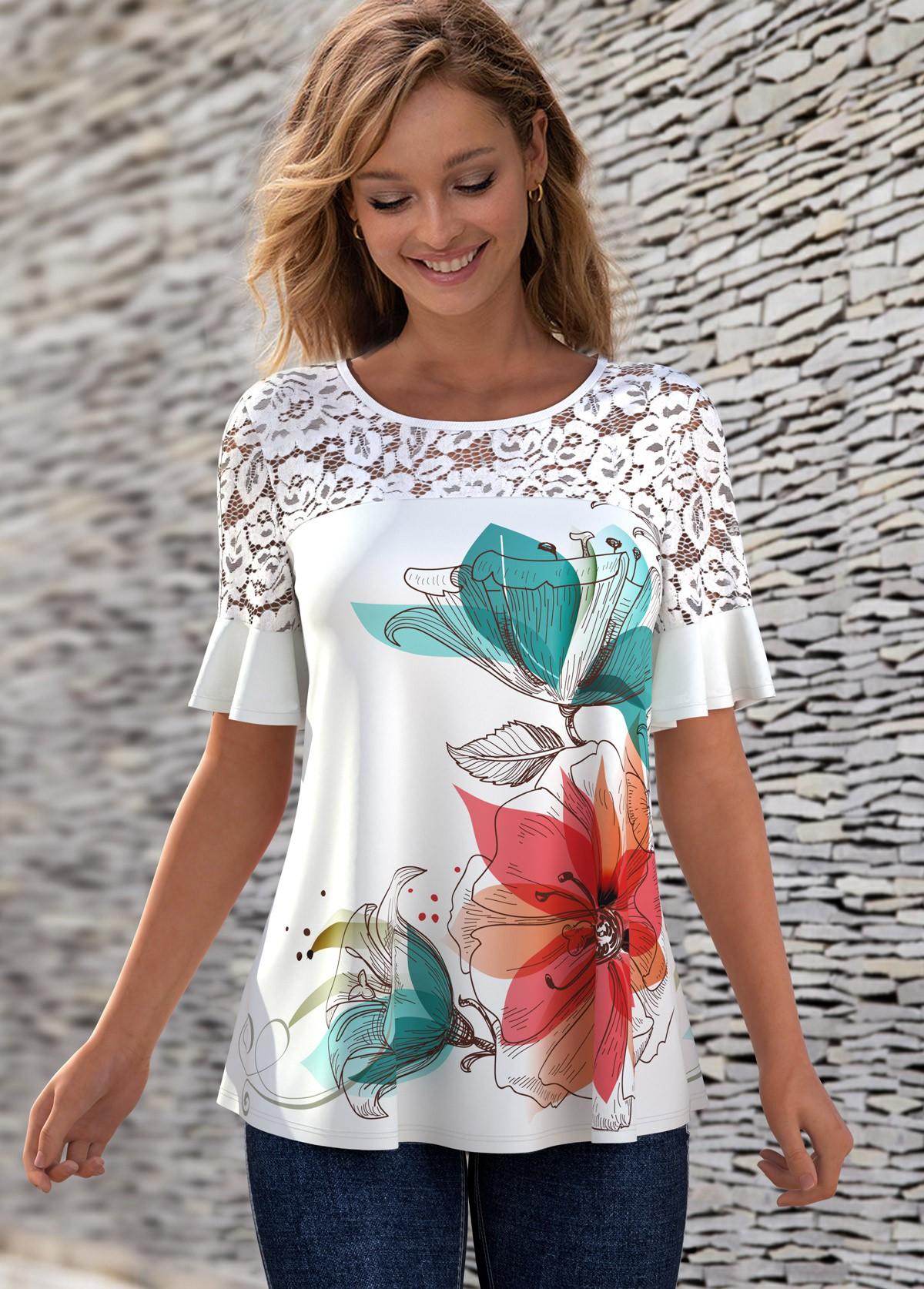 Lace Patchwork Floral Print Round Neck T Shirt