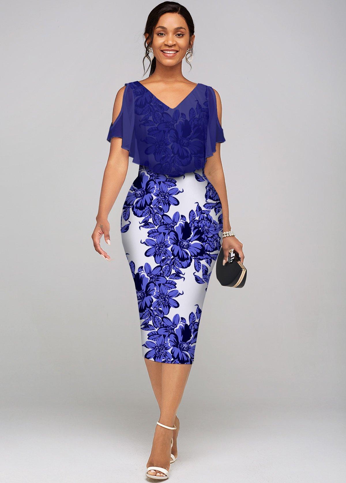 Floral Print Cold Shoulder V Neck Dress