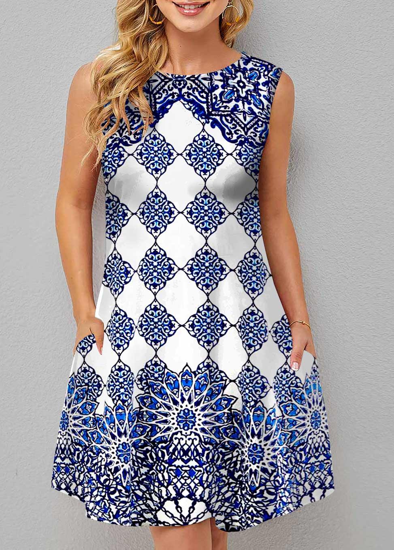 Double Side Pockets Tribal Print Sleeveless Dress