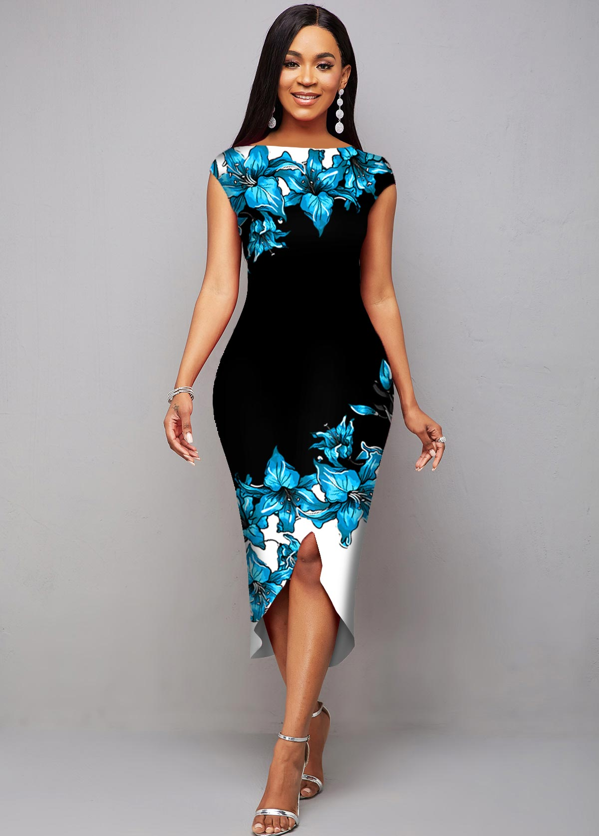 Asymmetric Hem Contrast Floral Print Dress